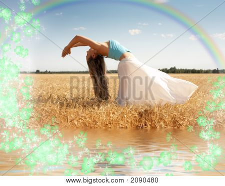 Stretching Woman With Rainbow, Water And Flowers