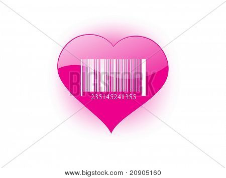barcode isolated on pink heart vector illustration
