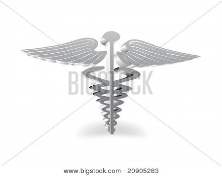 caduceus medical symbol 3D format vector illustration