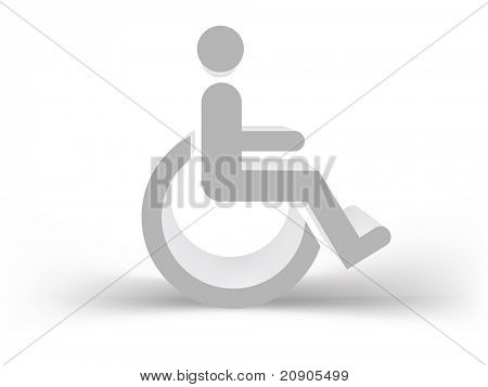 Signo de divisa gris para las personas con discapacidad en 3D