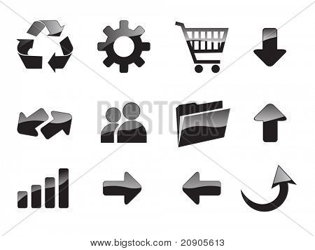 Vector black website and internet icons