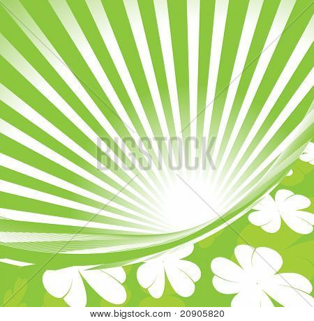 Shamrocks on green backgraound