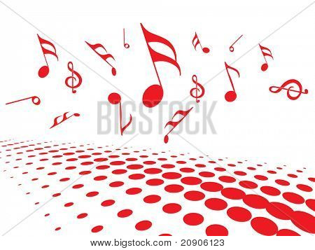 vector illustration of musical notes with halftone