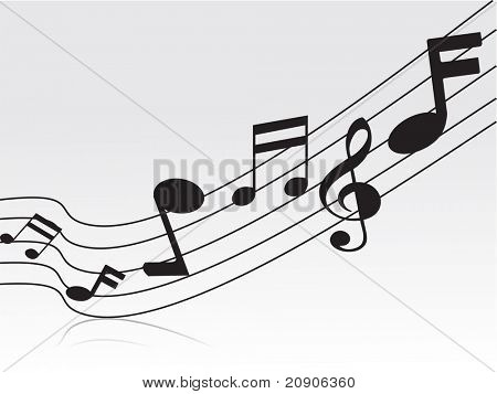 flying musical notes vector illustration