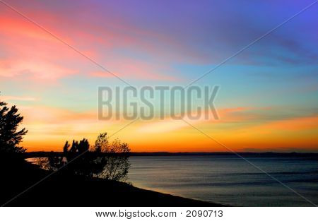Colorful Sky On Lake