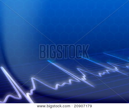 electronic cardiogram on blue background, vector illustration