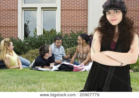 Attradtive College Student On Campus