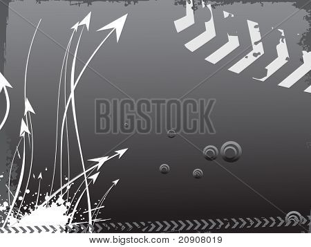grunge corner and arrow pointing up, gray vector illustration