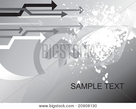 sample text on gray background with arrows and wave elements, wallpaper
