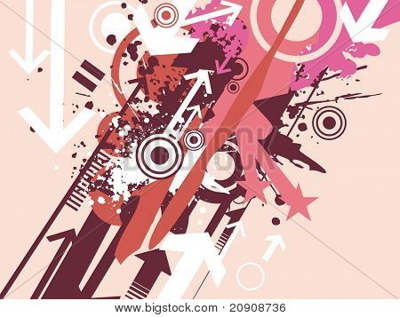 vector illustration of arrows, grunge, halftone and stars
