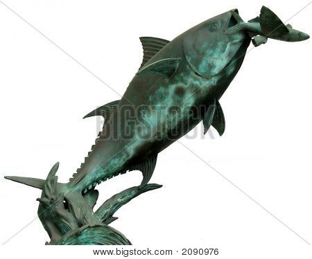 Isolated Statue Of Tuna And Flying Fish
