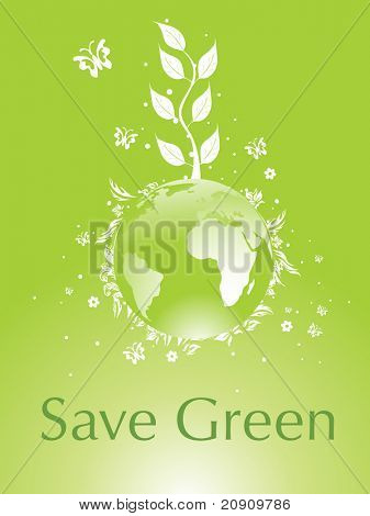 green globe between environmental protection concept