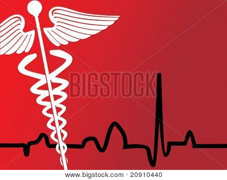 medical caduceus sign silhouette, vector illustration