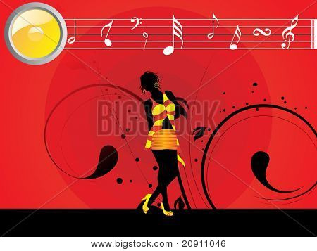 beautiful female silhouette dancing on music background, wallpaper
