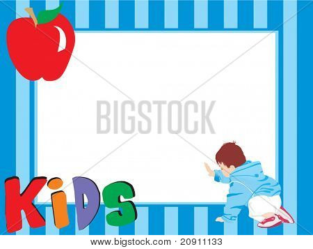 abstrakt blau Rahmen mit Apfel und Kind