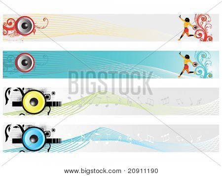 web 2.0 style musical series website banner set 7, illustration