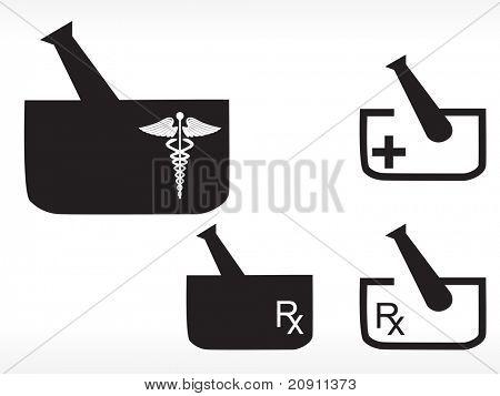 砂浆和杵与医疗徽标 库存矢量图和库存照片