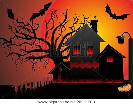 Night Scene with haunted house cats and bats with tree  of halloween background series view more for halloween in our profile