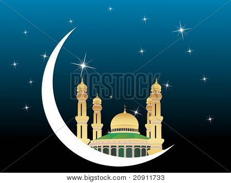 banner of mosques in over bright night sky,  Ramadan and Eid Series