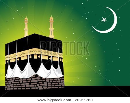 Islamic theme holy mosque in the starry night, illustration