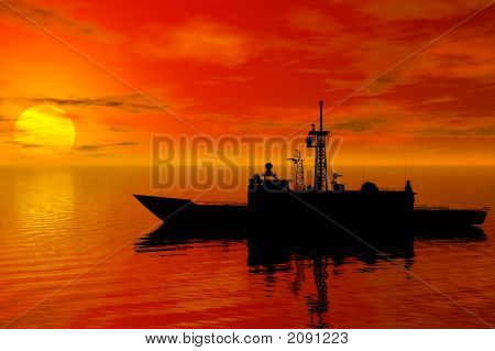 Battleship With Sunset