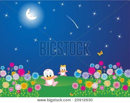 flower garden in the moon light, illustration