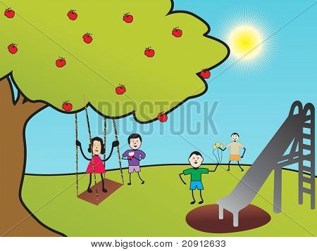 kids playing in the park, illustration