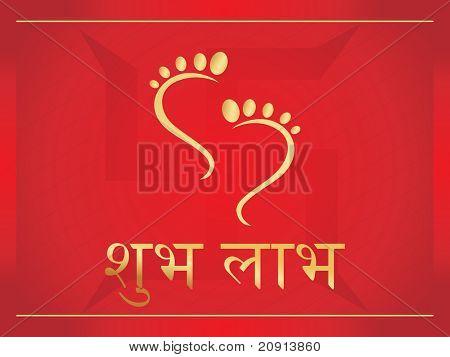 footprints of Goddess laxmi, vector design