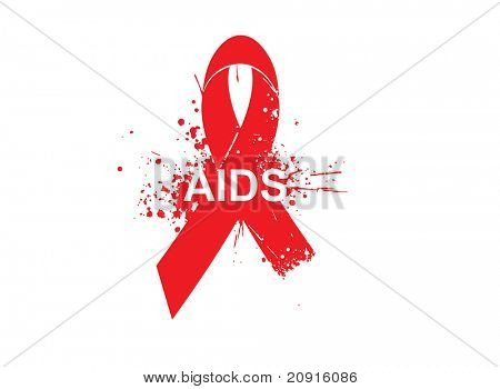aids awareness background with grunge elements and red ribbon