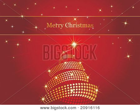 christmas background of stars and jeweled christmas tree tudded with jewels, illustration, wallpaper