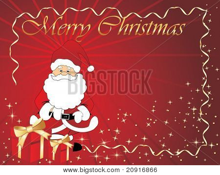 christmas vector frame with santa claus