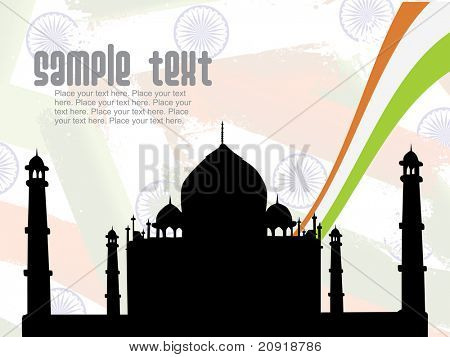 taj mahal shadow isolated on independence day background