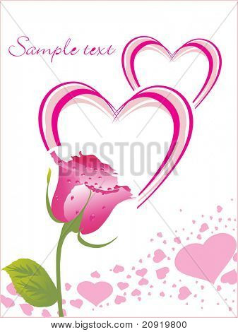 rose with love card