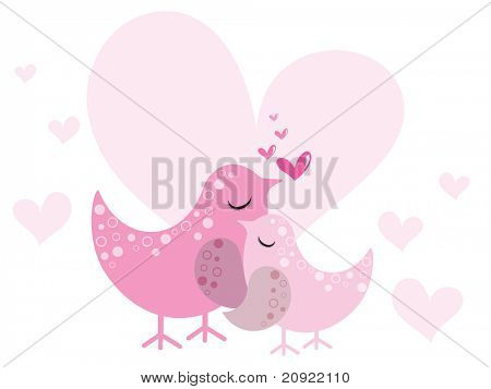 background with heart and mother bird with its baby