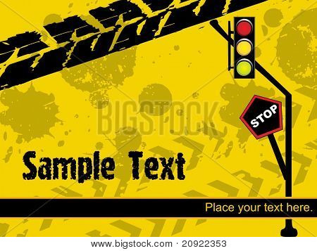 abstract road sign with traffic light, vector illustration