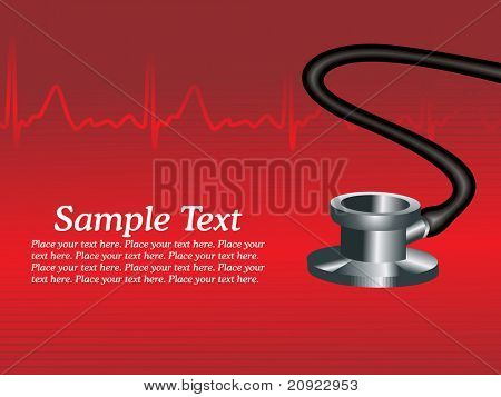 red heart beat background with stethoscope and sample text