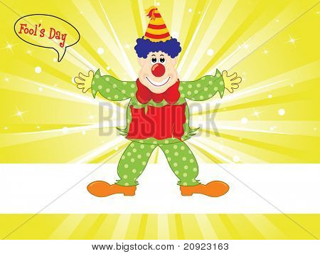 Vector illustration of clown with yellow green rays background