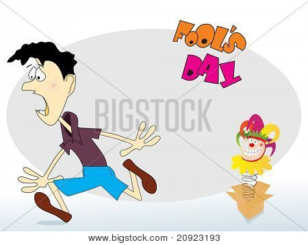 cardboard box with funny face and cartoon background, vector illustration