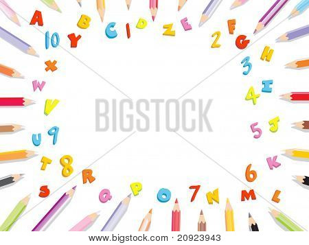 vector frame background using pencil, number and alphabet