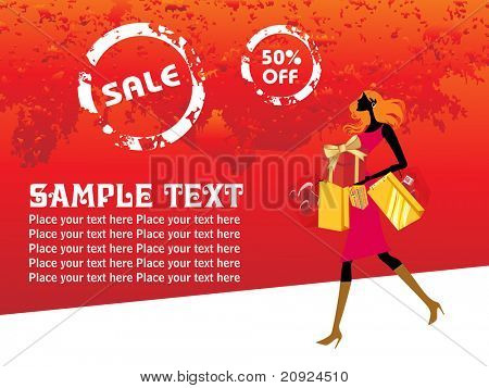 crazy sale background with a modern girl loaded with shopping bags, vector illustration