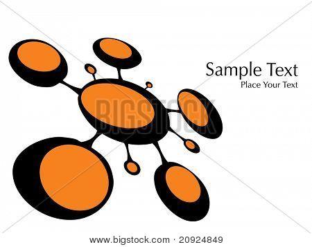 isolated orange molecule bond with white background