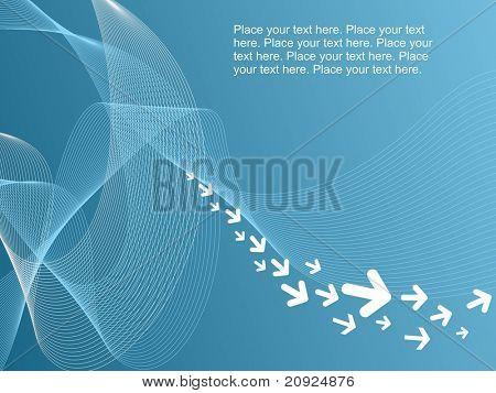 fundo abstrato ondas azul com ilustração de ponta de seta