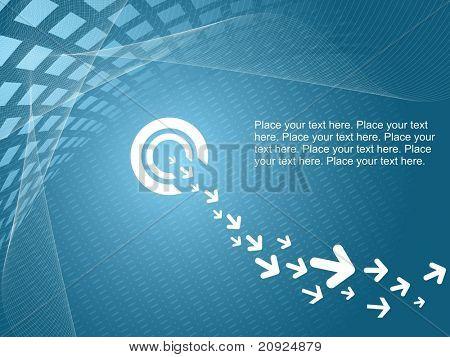 fondo azul de la onda con texto de muestra