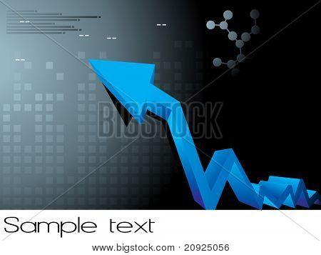 abstrato quadrado com ponta de seta azul