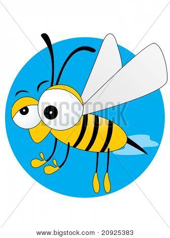 blue background with lovely bee, vector illustration