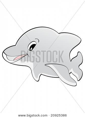 vector illustration of smiling dolphin