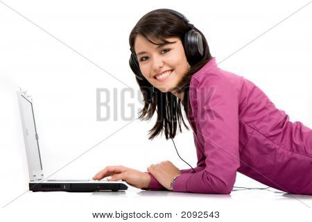 Listening Music On A Laptop Computer