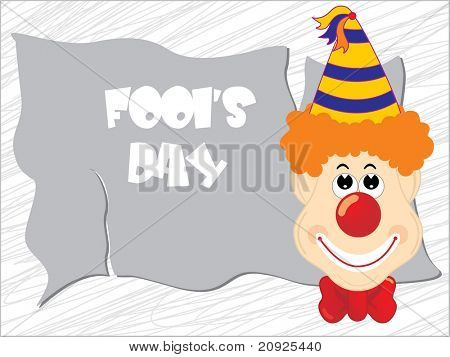 artistic line all fool day background with cheerful joker