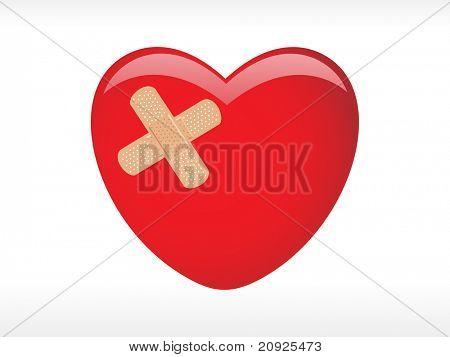 coração vermelho com Emplastro adesivo, médica de fundo vector
