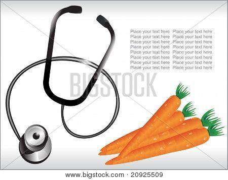 instrumento médico, comida sana, vector ilustración de zanahoria